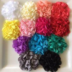 "U Pick 2 Large 3"" Eyelet Fabric Flowers-Applique-hairbow supplies-diy wedding-crafts-scrapbook-headband supplies-wholesale Flowers-Bulk-Mix by BBBSupply on Etsy"