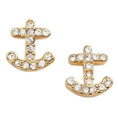 kate spade new york 'anchors away' stud earrings (3.130 RUB) ❤ liked on Polyvore featuring jewelry, earrings, glass earrings, kate spade earrings, anchor post earrings, glass jewelry and kate spade jewelry