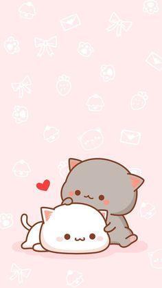 Nice screen image - Part No Name 11 - Cute & Kawaii Animal Drawings Chibi Wallpaper, Cute Cat Wallpaper, Kawaii Wallpaper, Iphone Wallpaper, Animal Wallpaper, Pink Wallpaper, Wallpaper Awesome, Drawing Wallpaper, Couple Wallpaper
