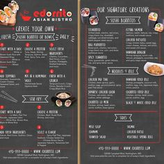 Design a take-out menu for an innovated Asian Bistro by Marcy_McGuire Sushi Burrito, Asian Bistro, Take Out Menu, Fresh Sushi, Tempura, Menu Design, Spicy, Food, Essen