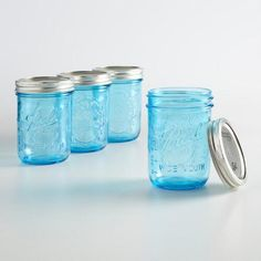 Featuring a contemporary silhouette in blue, our Ball Elite jars are crafted of high-quality glass with wide mouths and BPA-free lids and bands. Ideal for preserving jams, sauces and vinegars, they're also excellent serving vessels, home decor accents and gift containers.
