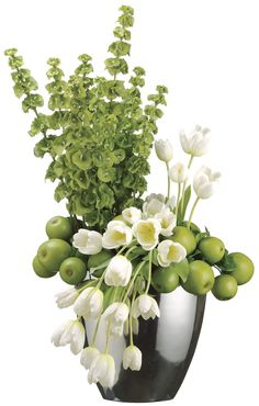 White Tulips, Green Apples, And Bells Of Ireland Silk Floral Arrangement