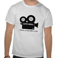 """Lets Roll Media Design - Customisable t-shirt is suitable for any film or movie crew member. Also suitable for video makers from youtube. This could be worn by the director, camerman, lighting, or any other background crew members. Customise it with your own website address and promote your future projects with this awesome design. """"Lets Roll"""" text also customisable to say anything you want. For example you could use """"ACTION!"""""""