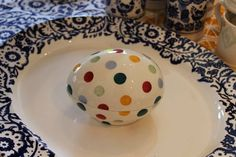 Emma Bridgewater Polka Dot SAMPLE Ceramic Egg at the Collectors Event Sample Sale (24.09.14) Emma Bridgewater Pottery, Missing Piece, Butler Pantry, Egg, Polka Dots, Dishes, Tableware, Pictures, Stripes