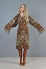 Missoni Dress Brown Green Cream Wool Attached Scarf Vintage 1990's NWOT 40 4 S