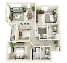 Thoughtskoto: 50 3D FLOOR PLANS, LAY-OUT DESIGNS FOR 2 BEDROOM HOUSE OR APARTMENT