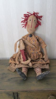 Primitive Raggedy with Bunny by Bettesbabies on Etsy, $66.00