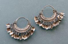 A Pair of silver earrings (bali) from Himachal Pradesh, Western Himalaya, India    Silver, enamel