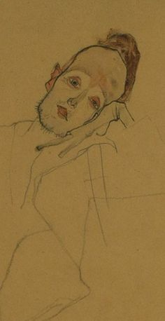Egon Schiele - Portrait of a painter Zakovsek, 1910 , Pencil, charcoal and watercolor. (1890-1918)