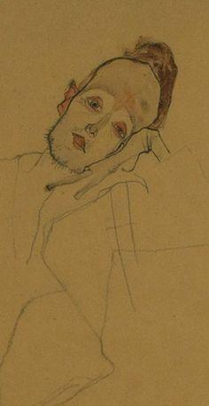Egon Schiele (1890-1918), 1910, Portrait of a painter (Zakovsek), Pencil, charcoal and watercolor.