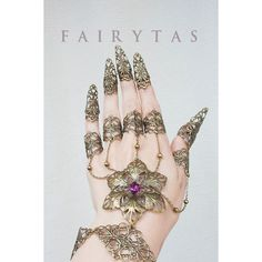Flower claw spike finger slave bracelet ❤ liked on Polyvore featuring jewelry, bracelets, filigree jewelry, amethyst jewelry, blossom jewelry, flower jewellery and flower jewelry