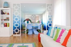 Adore Home magazine - Blog - Colourful living by MariaBarros - Love the ombre wall!