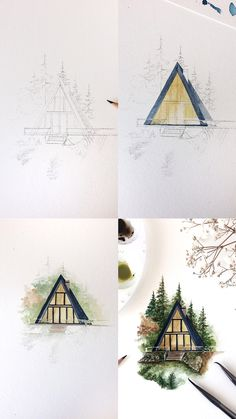 A frame cabin watercolor illustration mini tutorial with step by step process photos of how I painted it. A frame cabin watercolor illustration mini tutorial with step by step process photos of how I painted it. Watercolour Tutorials, Watercolor Artists, Watercolor Techniques, Watercolor Landscape, Watercolor Illustration Tutorial, Watercolour Pencil Art, Simple Watercolor, Watercolor Trees, Watercolor Portraits