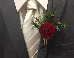 Red Maroon Boutonniere with Pheasant Feather and Silver Lapel Vase Pin, Groomsmen Flowers, Grooms Lapel Pin, Feather, Boutineer - Edit Listing - Etsy