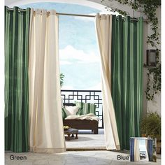 Add a touch of elegance and beauty to any space in your home with this gorgeous striped curtain panel. Made from polyester, this drape is infused with green, blue, and white accent colors, and its durable enough to be used indoors and out.