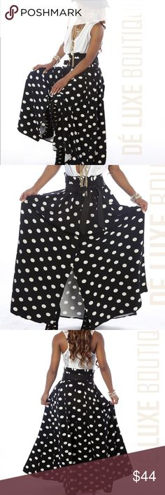 Charming Polka Dot Maxi Skirt From your morning meeting to your evening cocktail, there's thousands of reasons to step out in this Charming Polka Dot Maxi Skirt.  This woven black and white polka dot maxi skirt features button details that travels down to a full maxi skirt in the front and a black satin belt to tie.  This much needed maxi dress could be paired with a white bodysuit or graphic t-shirt to dress it down with small sandals. The Dé Luxe Boutique Skirts Maxi