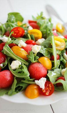 watermelon and feta arugula salad with honey lemon vinaigrette
