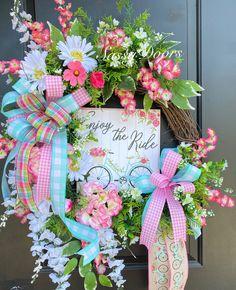 Custom And Unique Door Wreaths Summer Door Wreaths, Wreaths For Front Door, Spring Wreaths, Diy Wreath, Grapevine Wreath, Wreath Ideas, Coastal Wreath, Floral Wreaths, Mesh Wreaths