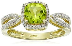 10k Yellow Gold Cushion Peridot and White Diamond August Birthstone Ring 110cttw IJ Color I2I3 Clarity Size 8 *** More info could be found at the image url.