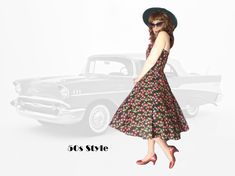 50s Style Fit and Flare Halter Dress, Small Hell-Bunny Look Full Skirt Pin up Girl Sundress with Mid Century Retro Cherry Print 50s Rockabilly, Retro Look, Flare Skirt, Pin Up Girls, Fit And Flare, Zipper Ties, Fashion Dresses, Vintage Fashion, Summer Dresses