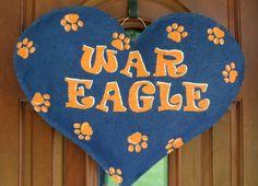 Auburn War Eagle  Heart burlap and wall hanger. $30.00, via Etsy.