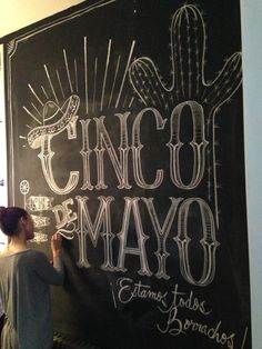 Cinco de Mayo chalk design by Carolina Ro #chalk #cincodemayo #