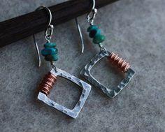 Turquoise Pebble Earrings Hammered Silver by PrairieSmokeJewelry