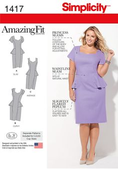 Get a perfect fit with this Amazing Fit dress with a peplum that flatters any figure. Make it sleeveless, cap or short sleeves. Sew the look with Simplicity Pattern 1417.