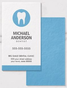 Blue, vertical dental business cards with white tooth logo. Modern and minimal design for dentists, dental assistants, dental surgeons, hygienists etc.