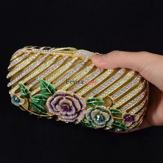 Swarovski Crystals Vogue Clutch Evening Handbag Purse Bag