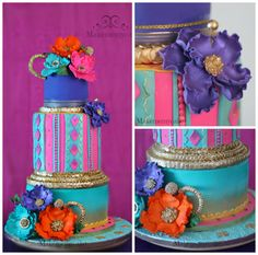 I made this cake for a Bollywood party in an indian restaurant in Miami. The original design is from A Wish and a Whisk who I badly admire so it was great to replicate her original design which was really awesome. The colors were so bright so in. Indian Cake, Indian Wedding Cakes, Indian Bridal, Cupcakes, Cupcake Cakes, Bollywood Cake, Bollywood Party, Bohemian Cake, Moroccan Party