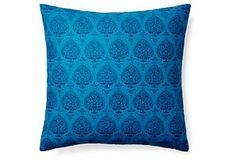 Pallavi 20x20 Cotton Pillow, Blue