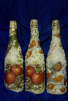 Мой ДЕКУПАЖ / новый год, свечи, декупаж, шампанское, бутылки, handmade, вазы…