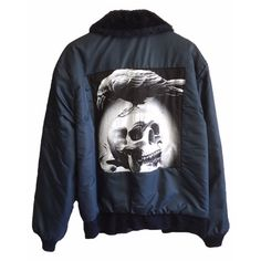Sherpa Bomber Jacket skull crow patch on back dark navy blue vintage mens womens Wear Guard zip up faux black fur collar medium embroidered by VELVETMETALVINTAGE on Etsy