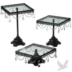 Jeweled Black Square Cake Stand Set (Set of 3 Cake Stands)