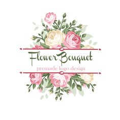 Flower Bouquet Logo Design. Pink Roses Floral Premade Logo Design. Digital Shop Logo Templates, Bespoke Logos. Shop Branding Etsy Logo. by ValleyandVale on Etsy