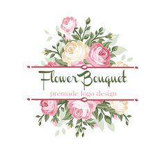 Flower Bouquet Logo Design. Pink Roses Floral Premade Logo Design. Digital Shop Logo Templates, Bespoke Logos. Shop Branding Etsy Logo. by ValleyandVale on Etsy