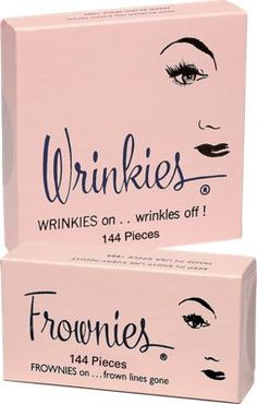 Since 1889, simple and effective Frownies and Wrinkies have been the secret of many a smooth, tranquil brow and Hollywood beauty. Forget toxic chemicals or paralyzing injections—Frownies and Wrinkies, little adhesive patches recommended by dermatologists and professional makeup artists, keep the skin smooth by training the muscles to relax.