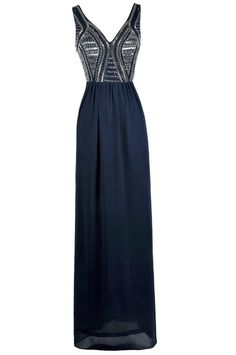 Lily Boutique Bold and Beaded Maxi Dress in Navy, $95 Navy Prom Dress, Navy Blue Beaded Maxi Dress, Embellished Formal Dress www.lilyboutique.com