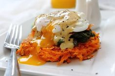 Poached Egg Smoked Salmon Sweet Potato Rosti Breakfast Stack by Peachy Palate