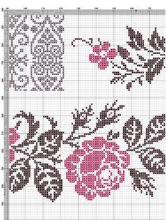 Easiest Crochet Frills Border Ever! Cross Stitch Rose, Cross Stitch Borders, Crochet Borders, Cross Stitch Flowers, Counted Cross Stitch Patterns, Cross Stitch Designs, Cross Stitching, Embroidery Motifs, Beaded Embroidery