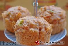 Muffins με ζαμπόν και τυρί #sintagespareas Macarons, Healthy School Snacks, Childrens Meals, Party Buffet, Cupcakes, Recipe Images, Savoury Cake, Greek Recipes, Party Snacks