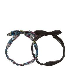 2 Pack Black and Lilac Tropical Print Bow Headbands