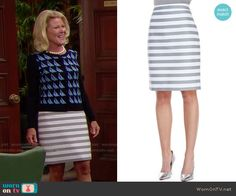 Pam's sailboat print cardigan and striped skirt on The Bold and the Beautiful…