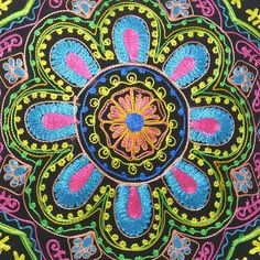 """16"""" Black Pillow Cushion Cover Colorful Embroidered"""