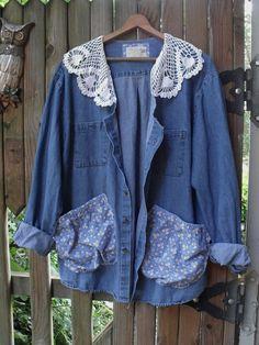 Denim Garden Smock/ Denim Jacket Crochet Collar Funky by SheerFab