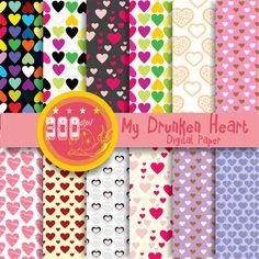 Hearts digital paper 'my drunken heart' multi by GemmedSnail, $4.80