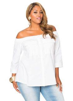 99ddfcb970a Off Shoulder Button Front Shirt-Plus Size Blouses-Ashley Stewart