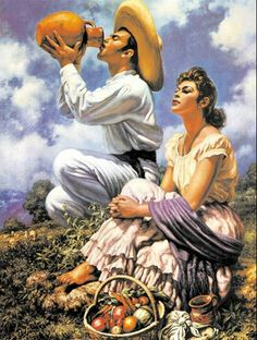 Jesús Helguera (May 1910 – December was a Mexican painter. Mexican Artwork, Mexican Paintings, Mexican Folk Art, Jorge Gonzalez, Hispanic Art, Latino Art, Mexican Heritage, Mexico Art, Aztec Art