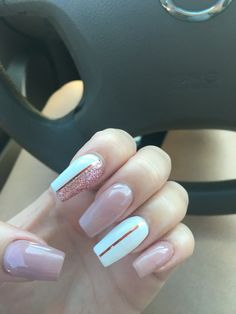 Rose gold nails with design                                                                                                                                                      More